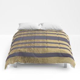 Elegant mauve purple faux gold stripes pattern Comforters