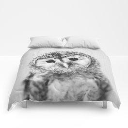 Baby Owl - Black & White Comforters