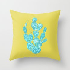 Linocut Cactus #1 Desert Blue Throw Pillow