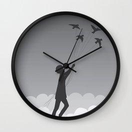 Boy and birds Wall Clock