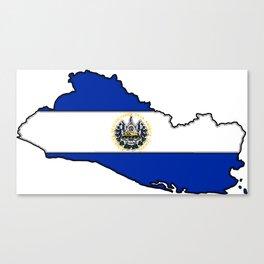El Salvador Map with Salvadoran Flag Canvas Print