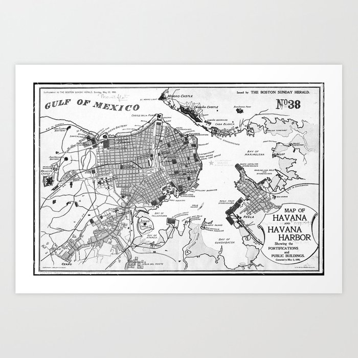 picture about Printable Map of Havana named Traditional Map of Havana Cuba (1898) 2 BW Artwork Print by way of bravuramedia