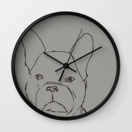 Sketched Frenchie (Grayscale) Wall Clock