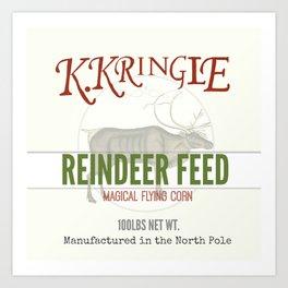 Christmas Reindeer Feed sack Art Print
