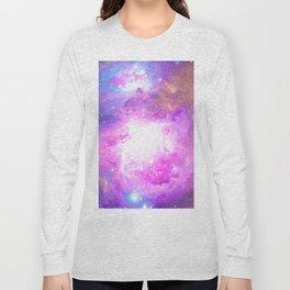 Colorful Pastel Pink Nebula Purple Galaxy Stars Long Sleeve T-shirt