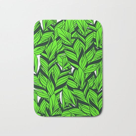 Jungle Banana Leaves Pattern Bath Mat