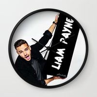 liam payne Wall Clocks featuring Liam Payne by girllarriealmighty
