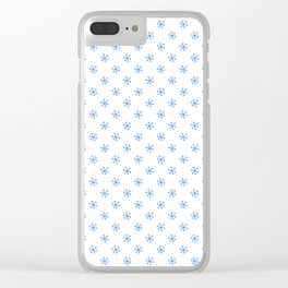 Brandeis Blue on White Snowflakes Clear iPhone Case