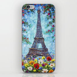 Handmade painting Spring Eiffel Tower Paris in Flowers Original art for Sale. Artist Valery Rybakow iPhone Skin