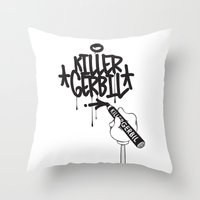 writer Throw Pillows featuring Writer by The Killer Gerbil