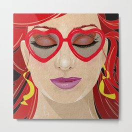 Heart Shaped Glasses Metal Print