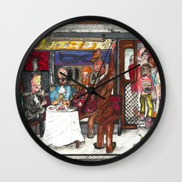 Fine Dining on the Subway Wall Clock