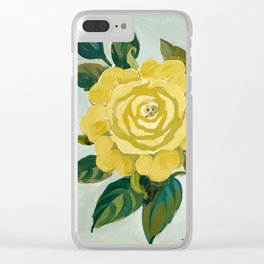 Yellow tempera roses Clear iPhone Case