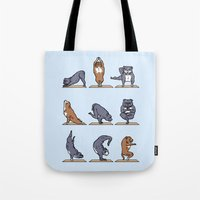 bull terrier Tote Bags featuring Bull Terrier Yoga by Huebucket