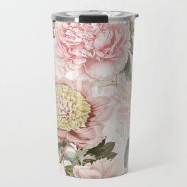 Vintage & Shabby Chic - Antique Pink Peony Flowers Garden Travel Mug