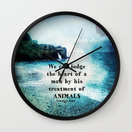 Vegetarian Quote Immanuel Kant Saying Art Beach ocean nature Wall Clock