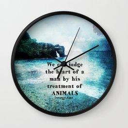 Vegetarian Quote Immanuel Kant Saying Art Beach ocean nature Wall Clock