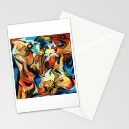 Abstract Musicians Painting Stationery Cards