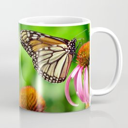 Spotted Butterfly on Cone Flower Coffee Mug