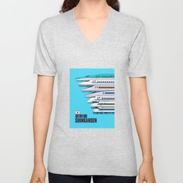 Shinkansen Bullet Train Evolution - Cyan Unisex V-Neck