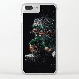Football player glitter Clear iPhone Case