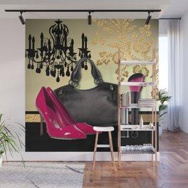 Chandelier Handbag Pumps Cosmetics Fashion Collage Wall Mural