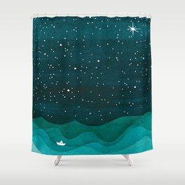 Starry Ocean, teal sailboat watercolor sea waves night Shower Curtain