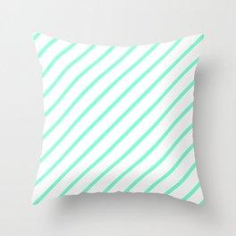 Diagonal Lines (Aquamarine/White) Throw Pillow