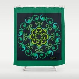 Grace Mandala - Green Black Shower Curtain