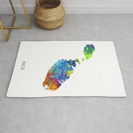 Malta Watercolor Map Rug