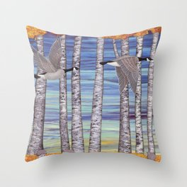 Canada geese, hedgehogs, and autumn birch trees Throw Pillow