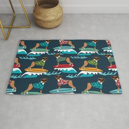 Boxer surfing pattern cute pet gifts dog lovers boxer dog Rug