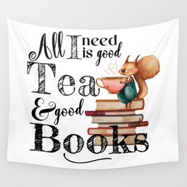 Tea & Books Wall Tapestry