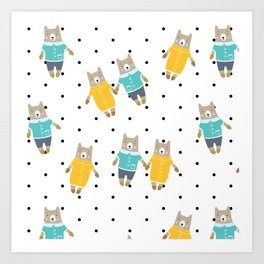 Cute bears in dotted background Art Print
