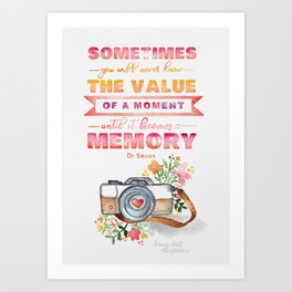 The Value of a Moment Watercolor Quote Art Print