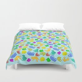 Sleepy Cat // crowd of colorful peaceful cats Duvet Cover