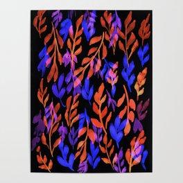 180726 Abstract Leaves Botanical Dark Mode 25 |Botanical Illustrations Poster