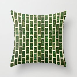 Green 70s Glass Tile // White Grout Natural Surface Texture Throw Pillow