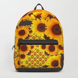 CHARCOAL GREY GOLDEN SUNFLOWERS ART PATTERN DESIGN Backpack