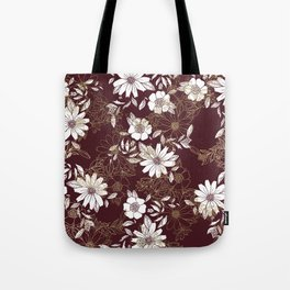 Elegant burgundy white faux gold modern flowers Tote Bag