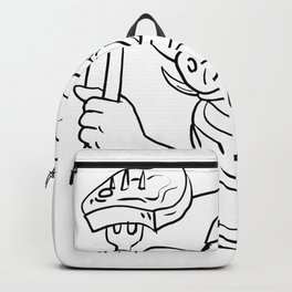 Cowboy Wild Pig Holding Barbecue Steak Drawing Black and White Backpack
