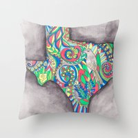 texas Throw Pillows featuring Texas by Laura Maxwell