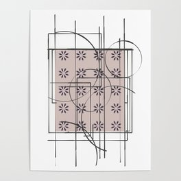 White Blush Pattern Flower Design Poster