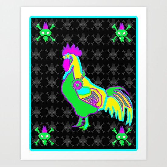 dubstep rooster Art Print