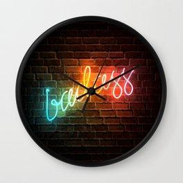 Badass Rainbow Neon Sign Wall Clock