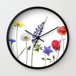 Flowers isolated on white background. Digital painting Wall Clock