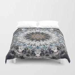 Gray, blue Mandala Duvet Cover
