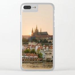 Prague Castle and Vltava river at sunset Clear iPhone Case