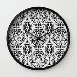 Cat Damask (Black&White) Wall Clock