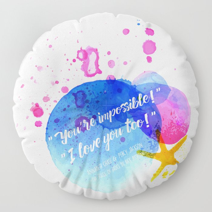 "Percy Jackson Percabeth House of Hades ""I love you too!"" Quote Floor Pillow"